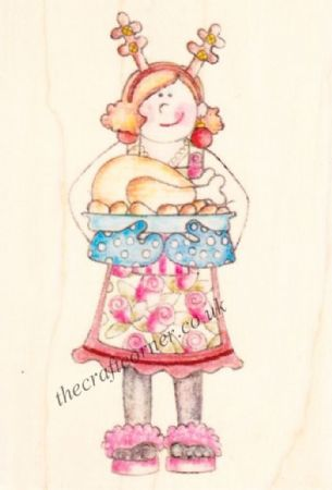 Christmas Turkey Lady Paper Nation Wooden Rubber Stamp
